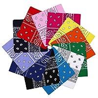 12pcs 100% Cotton Bandana Scarf, Supreme Paisley Print Cowboy-Style Bandana, Head Wrap Scarf for Men Women and Girls (bandanas-12colors, 21x21inch)