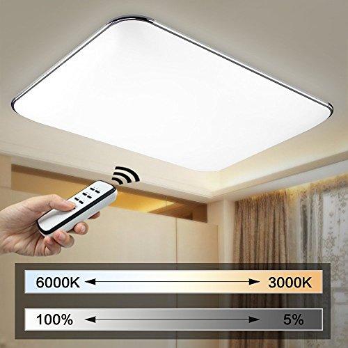 Natsen® 40W Moderne LED Deckenlampe deckenleuchte Silber mit Fernbedienung voll dimmbar (650mm*430mm) I503Y-40W