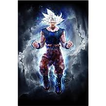 POSTERLOUNGE Cuadro sobre lienzo 20 x 30 cm: Ultra Instinct Goku master de Barrett Biggers - cuadro terminado, cuadro sobre bastidor, lámina terminada sobre lienzo auténtico, impresión en lienzo