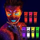 Xpassion 7 x 25ml UV-Bodypaint Körpermalfarben Schwarzlicht fluoreszierende Schminke Bodypainting Neon Farben Leuchtfarben