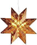 Magisch leuchtender Stern Fenster - Licht Fensterbeleuchtung , Farbe : Kupfer - aus Messing gefertigt - Größe 25 x 25 - , edel und hochwertig - Leuchtmittel / Glühlampe E 14 / max . 25 Watt wird benötigt , Zuleitung weiß ca. 350 cm , für den Innen - Bereich geeignet , NEU aus dem KAMACA-SHOP - Herbst Winter Advent und Weihnachten