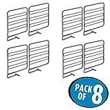 mDesign Juego de 8 separadores metálicos para organizar armarios y estanterías – Prácticos divisores de estantes y repisas – Sistema sencillo para colocar sin tornillos – bronce