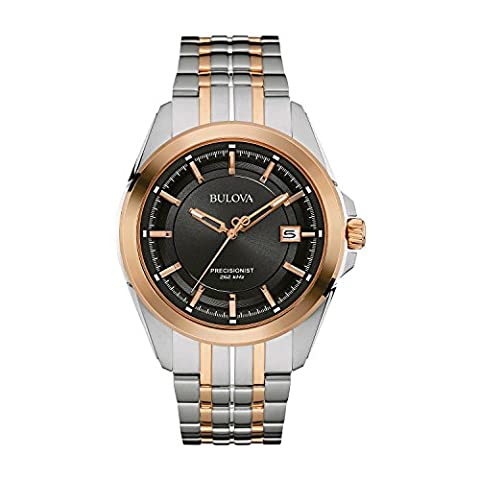 Bulova Men's Designer Watch Stainless Steel Bracelet - Two Tone Rose Gold Precisionist Wrist Watch 98B268
