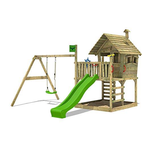 FATMOOSE Spielturm WackyWorld Spielhaus auf Stelzen mit großem Sandkasten, Schaukel und Rutsche