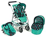 Bayer Chic 2000 637 21 - Kombi-Puppenwagen 3-in-1 Emotion All In, Menta, Navy/Mint