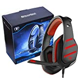beexcellent Computer Gaming Headset mit 3D Stereo Sound/Mikrofon/Lautstärkeregler/Surround Sound/LED Beleuchtung für PS4 Xbox One Laptop PC Tablet Smartphones Rot Rot