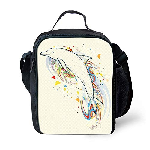 Lunch Bag Tote Boxes Bags Insulated LunchBags Cute Dolphin Fish Figure with Rainbow Colors Adventure Ocean Animal Illustration,Lunch Box for Men/Women Boys/Girls Kids -