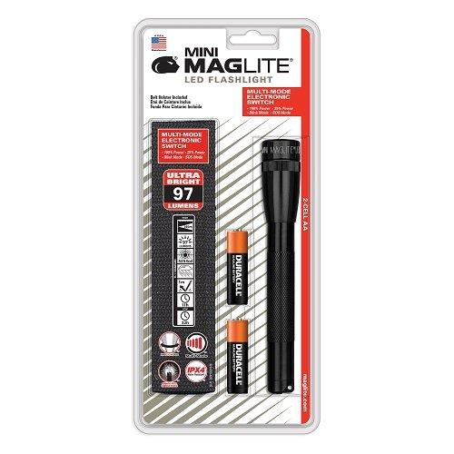 Mag-Lite Mini 2AA LED,97 Lumen, 17 cm schwarz inkl. 2 AA Batterien und Nylonholster, SP2201HL