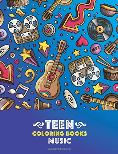 teen coloring books music detailed designs of guitars violins drums and more stress relief patterns coloring book for older girls boys teenagers teens tweens kids and adults
