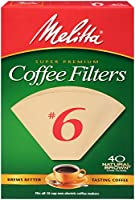 Melitta Cone Coffee Filters, Natural Brown, No. 6, 40-Count Filters (Pack Of 12)