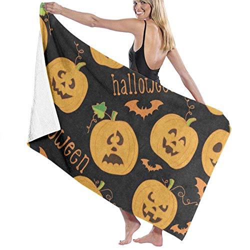 xcvgcxcvasda Serviette de bain, Halloween Cartoon Pumpkin Bat Black Personalized Custom Women Men Quick Dry Lightweight Beach & Bath Blanket Great for Beach Trips, Pool, Swimming and Camping 31