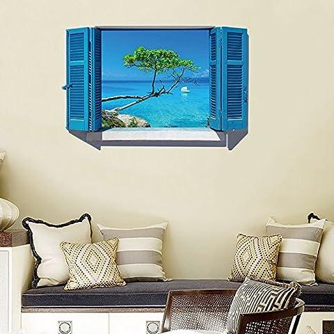 3D solid wall wallpaper emulation window view, green tree marine