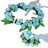 YAZILIND Floral Guirnalda de Encaje Elegante Diadema de Flores Pulsera Garland para Bodas Festivales Turismo Azul