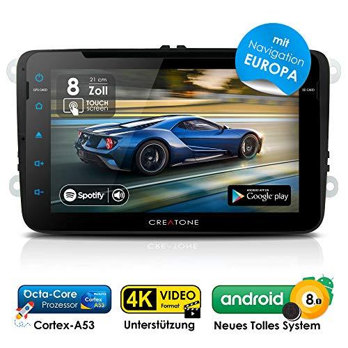 2DIN Autoradio Android 8.1 CREATONE AWS-8800 mit GPS Navigation (aktuelle Europa-Karten mit Radarwarnungen) | DVD-Player | USB bis 4TB l Octa-Core Cortex A53 CPU | 16GB integriert | 4K Ultra HD Video Unterstützung | WLAN | Bluetooth 4.0 | Touchscreen 8 Zoll (21cm) | DAB+ | MirrorLink | OBD 2 | RDS für VW Golf 5, Golf 6, Passat B6, Passat B7, Passat CC, Touran, Caddy, Jetta, Polo 5, Scirocco, Tiguan, T5 Transporter, T5 Multivan, Beetle, Sharan 2, Amarok