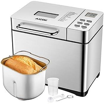Macchina Del Pane Aicok 19 Programmabile Bread Maker Auto Per Fare Pane, Marmellata, Yogurt, Modalità Senza Glutine, Auto Distributore di frutta, Capacità 1kg, 650W