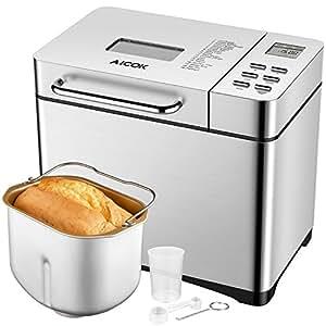 Aicok Machine à Pain 19 Programmes Inox 500g-1kg Pour Baguette, Confiture, et Yaourt, Avec Distributeur Automatique de Fruits et Minuteur Programmable 15h, Antiadhésive Sans PFOA et Sans BPA, Argent