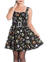 Hell Bunny Gothic Black Mini Dress Salem Pumpkins Ghosts Halloween