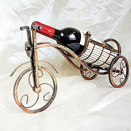 WENBIAOXUERed Wein Rahmen europäische kreative Mode Imitation Kupfer-farbigen Eisen Bambus Weben Dreirad 41 * 15 * 25cm (Wein Weben)