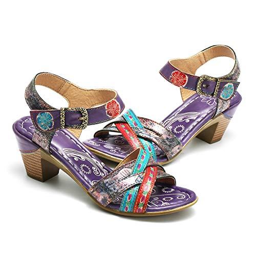 Vintage Sandalen mit Absatz,Handgefertigte Bunt Blume Mokassin Bequeme Pumps,2019 Frühling Sommer rutschfest Gemütliche Elegant Freizeit Party Schuhe - Blau Lila ()