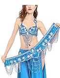 Dance Fairy Tassels Danse du Ventre Soutien gorge (34C/ 75C) avec Ceinture,Lac bleu