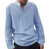 Camisa a Rayas para Hombre - Moda Manga Larga Cuello Mao Regular Fit Shirt Hombres Básica Casual Blusa con Botón Camisas Tops Tallas Grandes