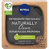 NIVEA Naturally Clean Detergente Solido Viso Scrub Pulizia Profonda Con Carbone Attivo, Certificato Cosmos Natural, 75 gr
