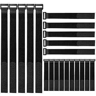 FULARR 20Pcs Klett-Kabelbinder, Multipurpose Klettbänder Set, Wiederverwendbare Klettverschluss Kabelbinder, Draht-Organizer für Kabel und Kabelmanagement –– 3 Verschiedene Größen –– Schwarz