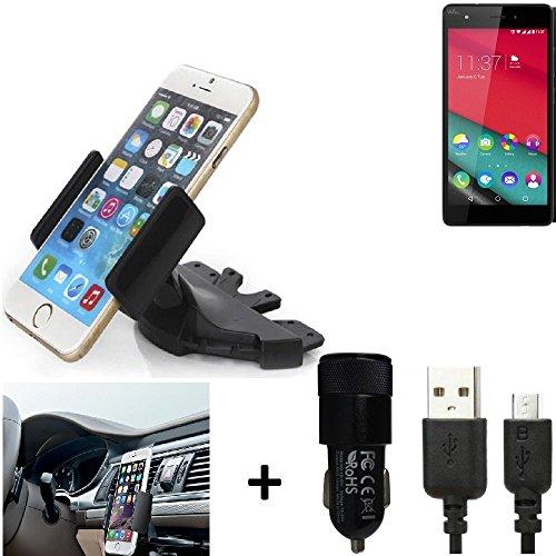 K-S-Trade® TOP SET para Wiko Pulp Soporte Ranura de CD Smartphone coche para los dispositivos de navegación / teléfonos inteligentes montaje de la radio hecho smartphone teléfono móvil navegación GPS para Wiko Pulp + CARGADOR
