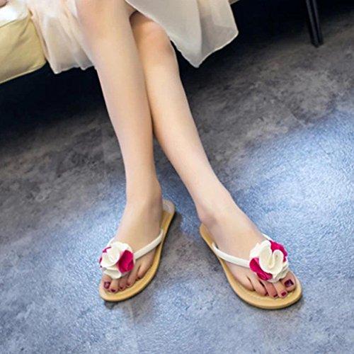 Fulltime®Chaussures plates femmes Bohême chausson fleurissent loisir sandales plage extérieure Rose vif