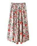 Women's Floral Printed Skirt Frill High Waist Beach A Line Maxi Skirts As Picture 15 One Size