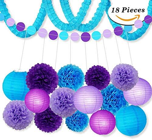 Party Dekoration Kit Lila Blau Seidenpapier Pom Poms Blumen Papiere Laternen Kreis Garland Geburtstag Hochzeit Taufe Frozen Thema Party Dekorationen für Erwachsene Jungen Mädchen von