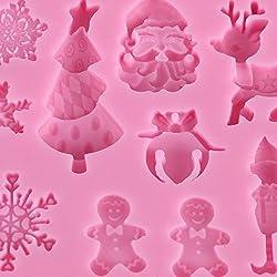 nalmatoionme Navidad decoración para tartas molde de silicona molde para hornear (color rosa)