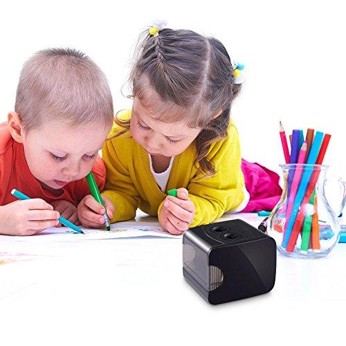 Sacapuntas Electrico,NEGRO,AUTOMÁTICO,USB CABLE RECARGABLE,2 AGUJERO/6-8mm&9-12mm,AA PILA/no incluido, ( hoy os presentaremos los mejores sacapuntas para estudiantes, mantenga a su hijo alejado del peligro de un sacapuntas afilado ) - HOMMINI