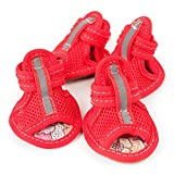 #9: Waterproof Pet Sandals for Medium Sized Dogs, Set of 4 Non-slip Rubber Paw Cotton Rope Protection Pet Shoes - Red, 4.5x5.5cm