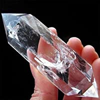 Cristal de obsidiana de fluorita 100 % natural, punto de columna, curación hexagonal, decoración de varita mágica, piedra de cristal de cuarzo de tratamiento de doble punta