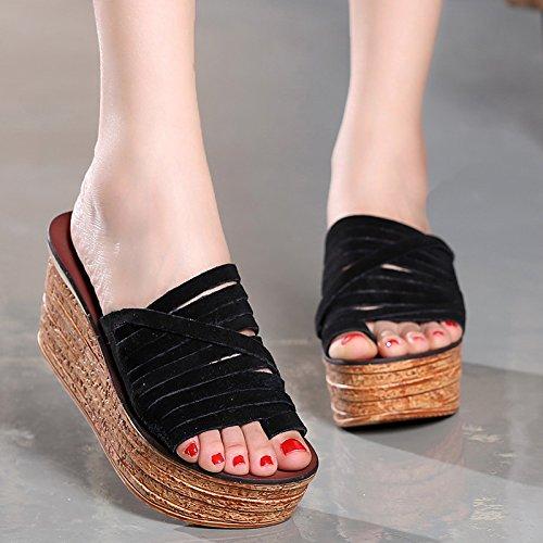ZYUSHIZ Mme Chaussures Sandales Chaussures Le premier champ d'épaisseur aux Philippines avec Sandales Pantoufles 37EU