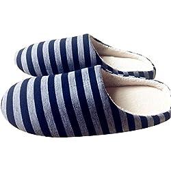 Qiao Nai(TM) Nuevas Popular Rayas Zapatillas de Pareja Refrigeradores Ligero Pantuflas Mula (XXL, Azul oscuro)
