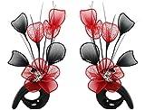 Flourish 792305 Zusammenpassendes Vasen-Paar mit Nylon-Kunstblumen, Dekoartikel, Geschenk, Wohnaccessoires, 32cm, Schwarz/Rot schwarz/red