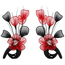 Diseño de flores de 792305 32 cm a juego Mini de remolino de jarrón de flores Artificial, rojo y negro