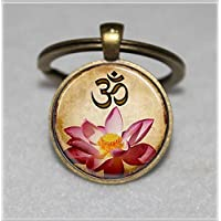 Yoga Keychain ,Om Keychain,Pink Lotus Blossom Flower Art Keychain,Unique Key Ring Customized Gift,Everyday Gift Key Chain