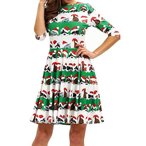 MRULIC 2018 Kleid Damen Weihnachtsbaum Druck Kleid Partykleider Winterkleider Ballkleider Abendkleid TüLlrock Langarm Etuikleid Schickes Kaufen Kleider (Y-Grün,EU-34/CN-S)