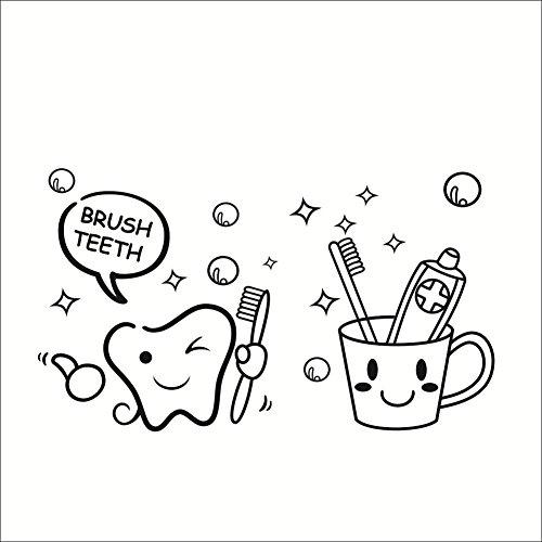 42*26cm Zahn Zahnbuerste Zahnpasta brush teeth abnehmbar Wandtattoo Wandaufkleber Aufkleber Wandsticker Wall sticker fuer Badezimmer