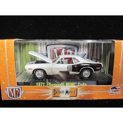 1971 Plymouth Hemi Cuda (White) Premium Open Hood Edition Detroit Muscle Series M2 Machines by M2 Machines - Plymouth Cuda