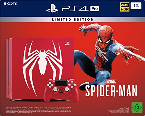 PlayStation 4 Pro - Konsole (1TB)  Limited Edition Spider-Man Bundle inkl. 1 DualShock 4 Controller, rot