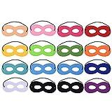 Blulu 16 Piezas Máscaras de Superhéroe Máscara de Fieltro Máscaras de Ojos Máscaras Medias Máscaras de Fiesta con Cuerda Elástica para Fiesta