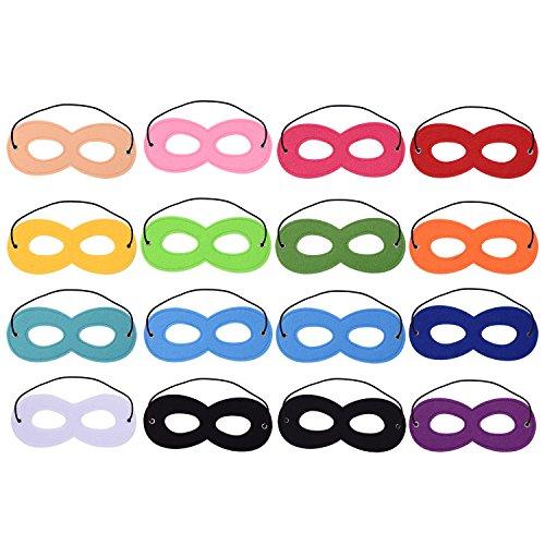 Preisvergleich Produktbild Blulu 16 Stück Superhero Masken Filz Masken Masken Aaugenmaske Halbmasken Party Masken mit Elastischen Seil für Party