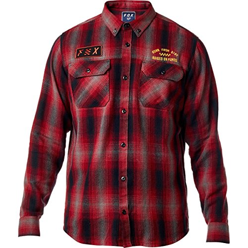 Oxford-hemd Mit Karomuster (Fox Herren Gorman Overshirt Button Down Hemd, dunkelrot, Groß)