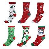 Ayliss® 6 Paare Mix Design Damen Mädchen Weihnachtssocken Weihnachtsmotiv Weihnachten Socken Festlicher Cotton Socken Christmas socks Gr.35-39 (#02)