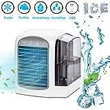 Mini Luftkühler, Lyeiaa Mobile Klimaanlage USB Air Cooler, 4 in 1 Klein Klimageräte leiser Ventilator Luftbefeuchter Luftreiniger Aromatherapie, 3 Geschwindigkeiten mit LED, für Zuhause, Büro, Camping