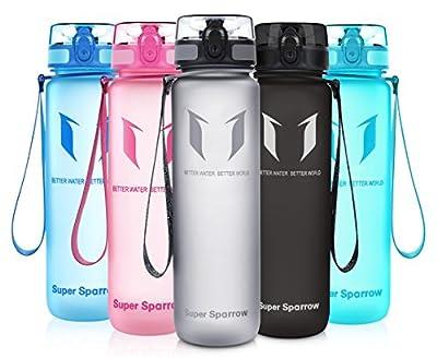 Super Sparrow Trinkflasche - Sports Wasserflasche - 500ml &1000ml - Eco Friendly & BPA-freiem Kunststoff - Ideale Sportflasche - für das Laufen, Fitness, Yoga, Im Freien und Camping - Schnelle Wasserdurchfluss , Flip Top, öffnet sich mit 1-Click - Wiederv